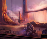 Futuristic docks. Scifi docks landscape illustration with spaceship vehicle and flying carrier ship Royalty Free Stock Image