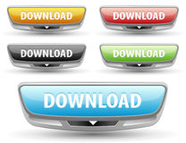 Futuristic download button. Royalty Free Stock Image