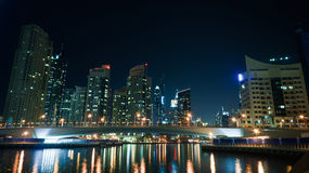 Futuristic Dubai Marina at night Royalty Free Stock Photography