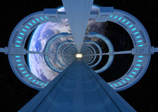 Futuristic earth bridge Royalty Free Stock Photo