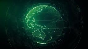 Futuristic Earth seamless loop. Data network around planet in digital age