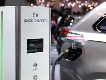 Futuristic electric concept car charging