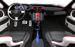 Futuristic electric vehicle dashboard and interior design. 3D rendering image with clipping path Stock Photo