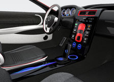 Futuristic electric vehicle dashboard and interior design. Stock Photo