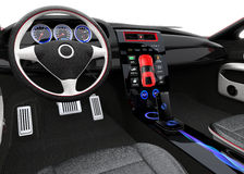 Futuristic electric vehicle dashboard and interior design. Royalty Free Stock Photography