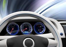 Futuristic electric vehicle dashboard and interior design. Stock Image