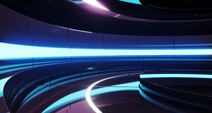 Futuristic Empty Stage Alien Ship Modern Future Background Techn. Ology Sci-Fi Interior Concept With Reflective Metal Surface And Purple And Blue Vibrant Neon stock illustration