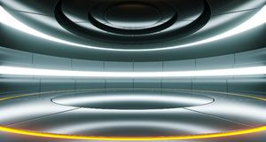 Futuristic Empty Stage Alien Ship Modern Future Background Techn. Ology Sci-Fi Interior Concept With Reflective Metal Surface And Space 3d rendering Illustration royalty free illustration