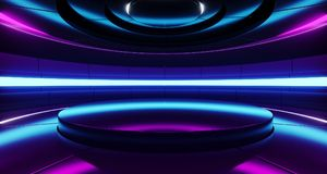 Futuristic Empty Stage Alien Ship Modern Future Background Technology Sci-Fi Interior Concept With Reflective Metal Surface And P. Urple And Blue Vibrant Neon vector illustration
