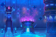 Futuristic Environment, inside of a Building. Video Games Digital CG Artwork, Concept Illustration, Realistic Cartoon Style Background Royalty Free Stock Image