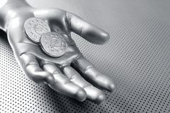 Futuristic euro business coin silver hand Royalty Free Stock Photography