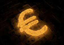Futuristic euro symbol Stock Photos