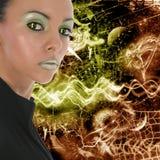Futuristic Face. Beautiful woman over abstract futuristic style background stock illustration
