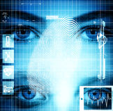 Futuristic face with moder signs Stock Photo