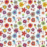 Futuristic fantastic flowers, twigs and leaves. Seamless plant texture of futuristic fantastic flowers, twigs and leaves White background, bright spring colors Stock Illustration