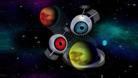 Futuristic fantasy image interplanetary information communication network with two satelit objects. Sci-fi video with two planets stock footage