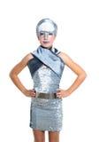 Futuristic fashion children girl silver makeup. Children futuristic fashion children girl silver makeup on white royalty free stock photos