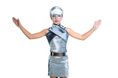 Futuristic fashion children girl silver makeup. Children futuristic fashion children girl silver makeup and open hands on white stock photo