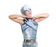 Futuristic fashion children girl silver makeup. Children futuristic fashion children girl silver makeup on white stock photo