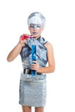 Futuristic fashion children girl silver makeup Royalty Free Stock Photography