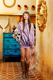 Futuristic fashion woman in retro grunge home Royalty Free Stock Photography