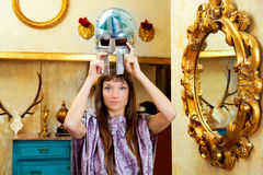 Futuristic fashion woman in retro grunge home Royalty Free Stock Image