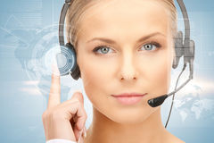 Futuristic female helpline operator Royalty Free Stock Image