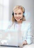 Futuristic female helpline operator Stock Image