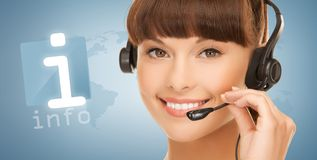 Futuristic female helpline operator Stock Photo