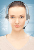 Futuristic female helpline operator Royalty Free Stock Images