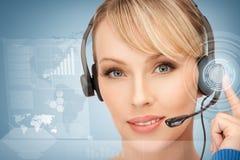 Futuristic female helpline operator Royalty Free Stock Image