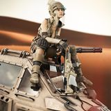 Futuristic Female soldier sitting on top of her piloted Mech robot machine. 3d rendering Stock Photo