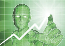 Futuristic figure tracing upwards trend on graph. Futuristic green figure tracing upwards trend on graph Royalty Free Stock Photos