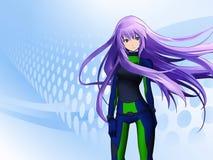futuristic flicka för anime vektor illustrationer