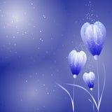 Futuristic flower background. In blue Stock Photo
