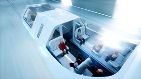 Futuristic flying bus with peoples fast driving in sci fi tunnel, coridor. Concept of future. 3d rendering. Futuristic flying bus with peoples fast driving in Stock Photography