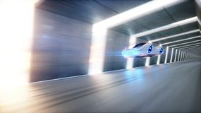 Futuristic flying car fast driving in sci fi tunnel, coridor. Concept of future. 3d rendering. Royalty Free Stock Photo
