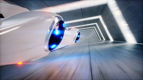 Futuristic flying car fast driving in sci fi tunnel, coridor. Concept of future. 3d rendering. Futuristic flying car fast driving in sci fi tunnel, coridor Royalty Free Stock Image