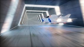 Futuristic flying car fast driving in sci fi tunnel, coridor. Concept of future. 3d rendering. Futuristic flying car fast driving in sci fi tunnel, coridor Royalty Free Stock Images