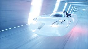 Futuristic flying car with woman fast driving in sci fi tunnel, coridor. Concept of future. 3d rendering. Stock Images