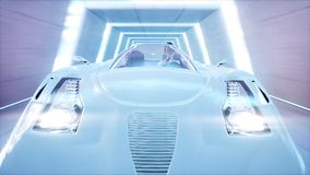 Futuristic flying car with woman fast driving in sci fi tunnel, coridor. Concept of future. 3d rendering. Futuristic flying car with woman fast driving in sci Royalty Free Stock Photography