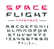 Futuristic font in cosmic style. Futuristic font. Letters and numbers for sci-fi, military, cosmic logo and title design Royalty Free Stock Image