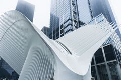 The Oculus transportation hub at World Trade Center Subway Station in New York City, USA. Futuristic form of The Oculus transportation hub at World Trade Center stock images