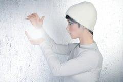 Futuristic fortune teller woman light glass sphere Stock Photo