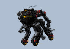 Futuristic four wheels robot separated from background concept art Royalty Free Stock Photo
