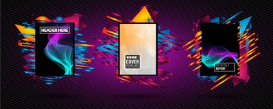 Futuristic Frame Art Design with Abstract shapes and drops of co. Lors behind the space for text. Modern Artistic flyer or party thai background Stock Images