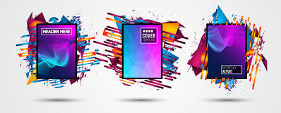 Futuristic Frame Art Design with Abstract shapes and drops of colors behind the space for text. Modern Artistic flyer or party tha. I background Stock Photo