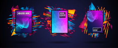 Futuristic Frame Art Design with Abstract shapes and drops of colors behind the space for text. Modern Artistic flyer or party tha. I background Royalty Free Stock Photo