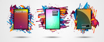 Futuristic Frame Art Design with Abstract shapes and drops of colors behind the space for text. Modern Artistic flyer or party tha. I background Stock Image