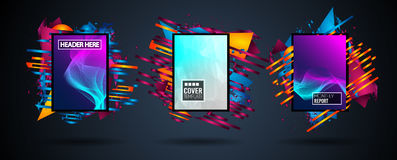 Futuristic Frame Art Design with Abstract shapes and drops of colors behind the space for text. Modern Artistic flyer or party tha. I background Royalty Free Stock Images